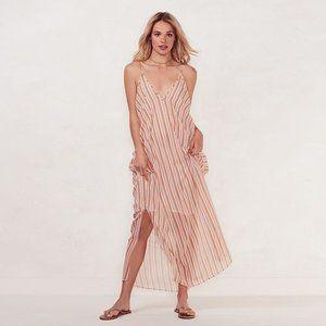 Lauren Conrad Cold Shoulder Striped Maxi Dress M